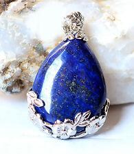 Vintage Natural Blue Lapis Lazuli Gemstone 925 Silver Plated Jewelry Pendant