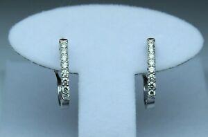 """1/2 cttw 16 Diamond """"J"""" hoop earrings G-H SI2 14kt white gold OMEGA BACKS"""