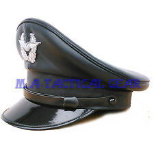 REPRODUCTION WWII WW2 PU LEATHER GERMAN OFFICER CAP 58 CM HAT BLACK EAGLE BADGE