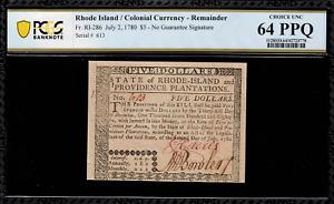 Colonial Currency - RI-286 - Rhode Island July 2, 1780 $5 - Graded PCGS 64PPQ