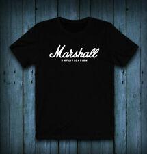 New Marshall Amplifier Logo Black T-Shirt Cotton #Saf
