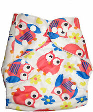 Modern Cloth Reusable Washable Baby Nappy Diaper & Insert, Bright Pink Owls