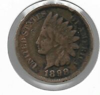 Rare Old Antique US 1898 Indian Head Penny Cent Collectible Collection Coin T58