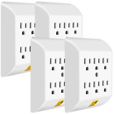ANKO Multi Plug Outlet 4 PACK, Wall Mount power strip with 6 Outlet Tap
