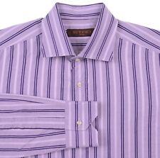 Etro Milano Purple Woven Ribbon Stripe Button Up Collared Cotton Dress Shirt 40