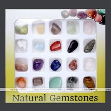 20x Crystal Gemstone Reiki Polished Healing Chakra Stone Collection Jewelry Set