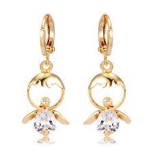 Dangle Angel Crystal Yellow Gold Plated Huggie Hoop Earrings Vintage 32*12mm