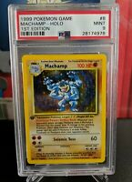 PSA 9 MINT POKEMON 1999 1ST EDITION BASE SET MACHAMP HOLO CARD WOTC #8/102