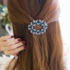 Women Hollow Rhinestone Accessories Princess Blue Flower Hair Clip Fashion