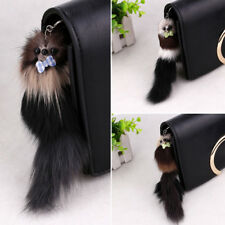 New 20cm Faux Fur Tassel Tail Keychain Ring Handbag Purse Decor Pendant Key Ring