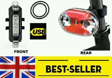 Rechargeable Front + rear 9 led light set - very bright lamp mountain road bike