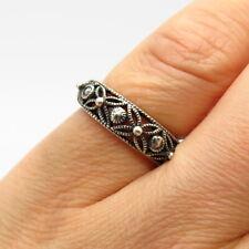 925 Sterling Silver Floral Design Ring Size 5