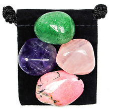 OVERCOMING GRIEF Tumbled Crystal Healing Set = 4 Stones + Pouch + Card