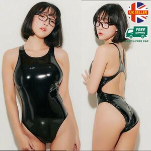 LEOHEX Latex Look Swimsuit Spandex Shiny Glossy Leotard Japanese Bodysuit Vinyl
