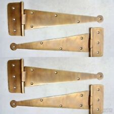 """4 Large hinges vintage aged hand solid Brass DOOR box restore heavy 9"""" long B"""