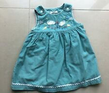 BNWT Mini Boden Girls Cord Pinafore dress 18-24 months NEW Sheep Turquoise