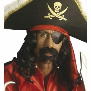 Pirate Eye Patch Black Satin on Elastic Fancy Dress Costume Accessories Party