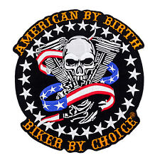 American By Birth Biker By Choice skull US Flag v twin Large Back Patch