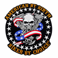 American By Birth Biker By Choice skull Us Flag v twin Large Back Center Patch