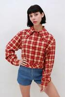 Vintage Retro COWGIRL Red Beige WOOL Plaid TARTAN Check Crop Shirt Top AUS 14 L
