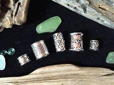 5 x Silver Dreadlock Beads Celtic Viking Beard Rings Mix 5-10mm Hole Antique UK