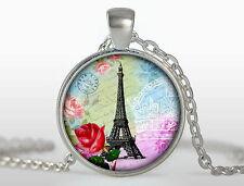 Paris Pendant, France necklace, Silver Plated pendant, Paris France Jewelry
