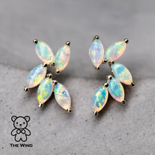Feather Design Australian Solid Opal Stud Earrings 14K Yellow Gold Olive Leaf