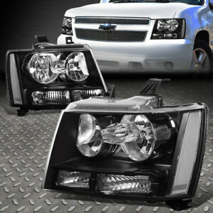FOR 07-14 CHEVY TAHOE SUBURBAN BLACK HOUSING CLEAR CORNER HEADLIGHT HEAD LAMPS