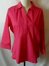 Riders by Lee Womens Shirt Size XL Deep Pink Button Front 3/4 Sleeve Turned Cuff