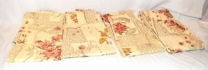 Vintage Set of 4 Beige with Pink & Brown Floral Pinch Pleat Curtains 42X54
