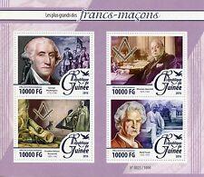 Guinea 2016 MNH Freemasons 4v M/S Masons George Washington Churchill Stamps