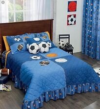 SPORTS BALLS KIDS BOYS BEDSPREAD SET 3 PCS TWIN SIZE