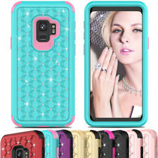 Women Crystal Bling Shockproof Rubber Case For Samsung Galaxy S9 Plus + Note 9 8
