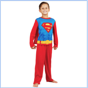 Superman Boys Red And Blue Pajama Set with Cape Size 8