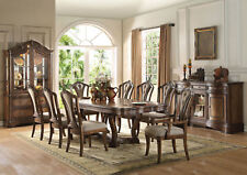 ADRIAN 9 pieces Traditional Dining Room Brown Oak Rectangular Table & Chairs Set