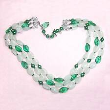 3 strand necklace green & frosted glass beads B25