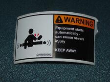 "2.5"" X 5"" Equipment Starts Warning label  self adhesive"