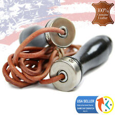 Genuine Leather Speed Skipping Jump Rope Gym Training Boxing MMA Black 9ft.