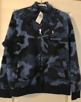 NWT Men's Polo Ralph Lauren Blue Camo Vintage Sherpa Fleece Sweatshirt M $188