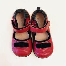 Baby Girls 7 Robeez Tredz Shoes 23 Red Black Leather Mary Janes Dressy Walking
