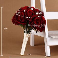 Handmade Wedding Rose Flower Bridal Bouquet Crystal Pearls Silk Satin Brooch