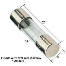 1A (Ampère) fusible verre rapide universelle cylindrique 5x20 mm 250V Max.  .D6