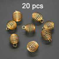 20Pcs Tone Spring Spiral Bead Cages Pendants Jewelry Diy Making Findings