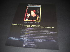 SUZANNE VEGA ...fluent in global language of Music 1991 PROMO POSTER AD mint con