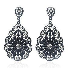 Black Vintage Style Gothic Dress Teardrop Crystal Flower Drop Dangle Earrings UK