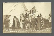 Mott NORTH DAKOTA RP 1918 SIOUX INDIANS Indian Trading WHITE MAN Trader FLAG