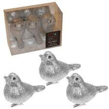 Christmas Decoration 3 Pack 8cm Clip on Glitter Birds - Silver