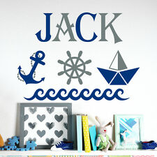 Name Wall Decals Anchor Wheel Decal Nautical Nursery Room Decor Sticker MA286