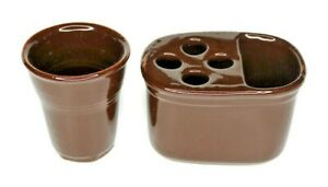 VIETRI Italy Cioccolatta Brown Toothbrush Holder and China Bathroom Tumbler
