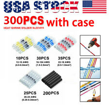 300pcs Solder Sleeve Heat Shrink Wire Butt Splice Connector Waterproof Terminals